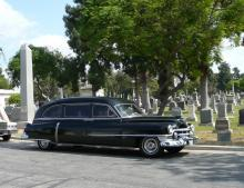 One of the group of antique hearses on display during the Living History Tour